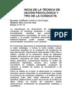 IMPORTANCIA DE LA TÉCNICA DE OBSERVACIÓN PSICOLÓGICA Y REGISTRO DE LA CONDUCTA