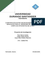 COMPARACIÓN ENTRE NEURODINAMIA Y TÉCNICAS MANUALES PARA EL SÍNDROME DEL TÚNEL DEL CARPO EN OFICINISTAS DE LA SEC - ESCRITO