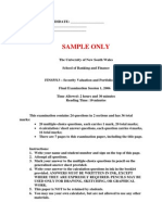 FINS5513 Security Valuation and Portfolio Selection Sample Exam