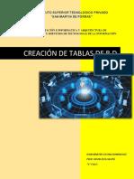 CREACIÓN DE TABLAS DE BASE DE DATOS(5 EJEMPLO)