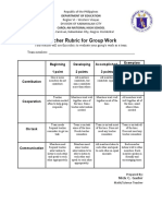 Teacher Rubric for Group Work