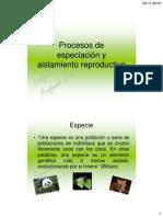 Procesos de especiación y aislamiento reproductivo2
