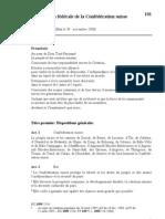 Constitution fédérale de la Confédération Suisse