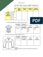 FIȘĂ DE LUCRU clasificarea îmbrăcămintei