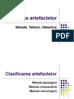 Analiza artefactelor. Tipologia