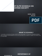 Impact of elite schools on Pakistani society