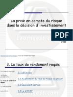 4 - Ajustement du taux au risque du projet