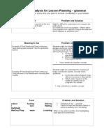 Grammar Analysis Sheet Past Simple VS Past Continuous
