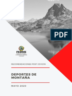 Recomendaciones FEDME para los Deportes Montaña Tras Covid 19. 18 Mayo 2020