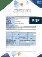 Guía de actividades y rúbrica de evaluación Fase 1 - Evaluar conocimientos previos