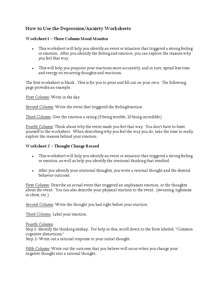Thoughts and Mood Worksheets SelfImprovement – Distorted Thinking Worksheets