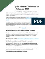 Requisitos para crear una fundación en Colombia 2020