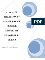 Student Perception of their Female School Teachers' Leadership Behaviour in Nigeria