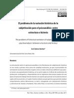 EL PROBLEMA DE LA VARIACIÓN HISTÓRICA DE LA SUBJETIVACIÓN PARA EL PSICOANÁLISIS ENTRE ESTRUCTURA E HISTORIA.pdf