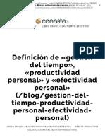 Definición de «gestión del tiempo», «productividad personal» y «efectividad personal» · el Canasto
