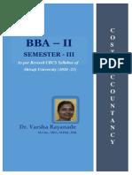 Cost Accountancy ~BBA Part II Semester III