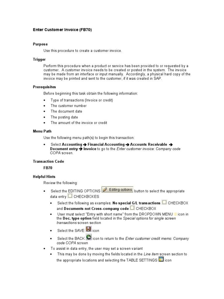 FB70 Customer Invoice | Invoice | Debits And Credits