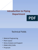 Introduction to Piping Department