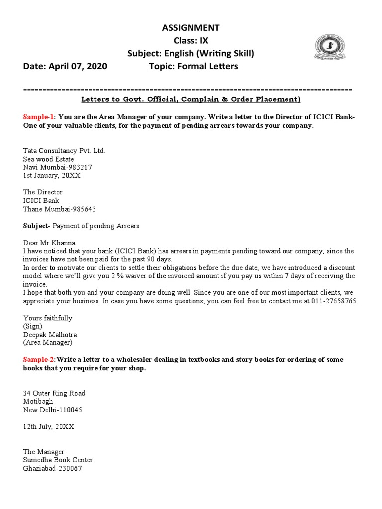 Formal Letter To A Company from imgv2-1-f.scribdassets.com