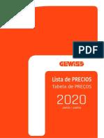 GEWISS Lista de Precios 2020