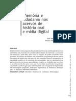 Memória e  cidadania nos  acervos de  história oral  e mídia digital