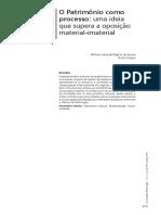 O Patrimônio como  processo- uma ideia  que supera a oposição  material-imaterial
