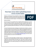 Four keys areas where plumbing issues occur at your home.