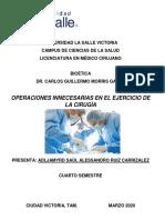1.- Bioética. Operaciones Innecesarias en El Ejercicio de La Cirugía