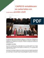 FTCCP y CAPECO establecen aumentos salariales en construcción civil