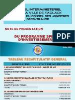 PRESENTATION Plan d'investisement de la commune conseil   interministiel région de Kaolack