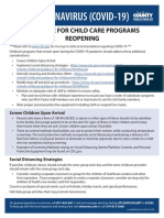 Guidance for reopening child care programs