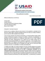 Carta de USAID a La ONU Exigiendo Que No Promocione El Aborto
