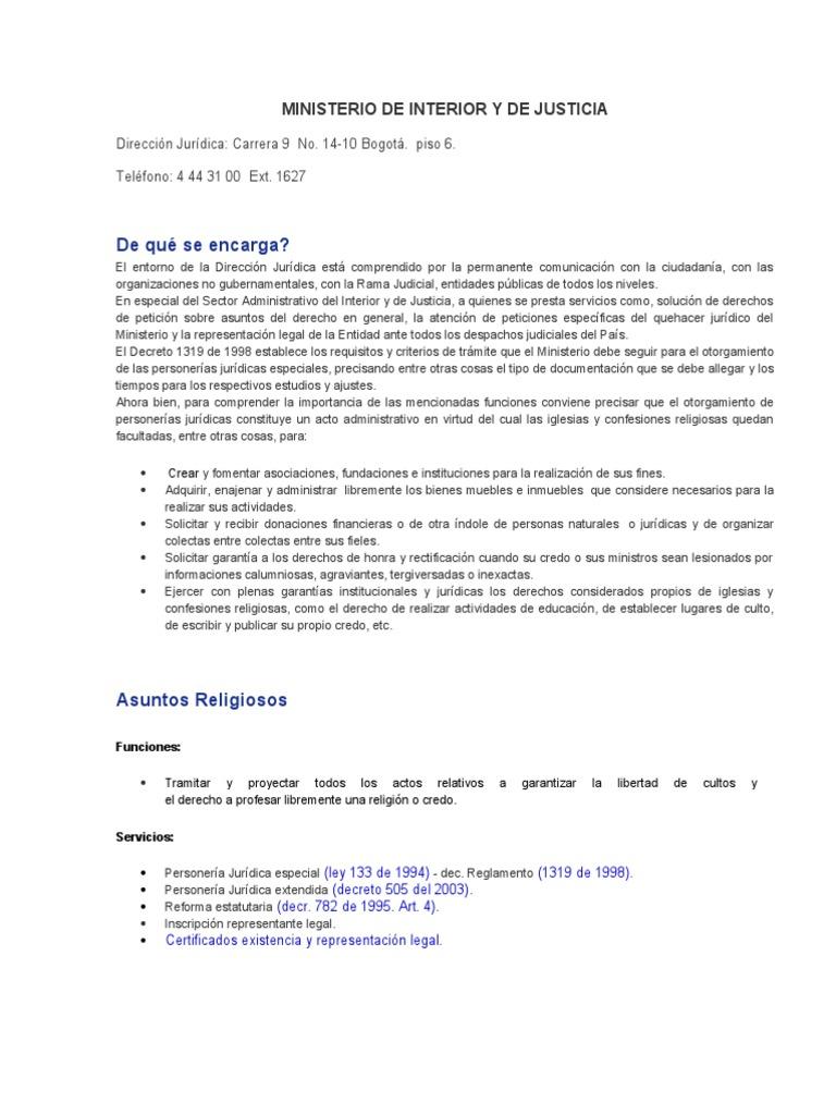 Ministerio de interior y de justicia y su normatividad for Direccion de ministerio de interior y justicia