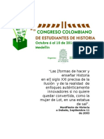 II Congreso Colombiano de Historia (Convocatoria)