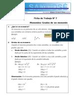 ÁLGEBRA - Monomios- polinomios 6° grado  III 2015.docx