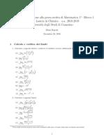 Esercizi in Preparazione alla prova scritta di Matematica 1