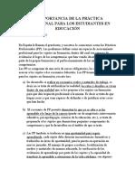 LA IMPORTANCIA DE LA PRÁCTICA PROFESIONAL PARA LOS ESTUDIANTES EN EDUCACIÓN