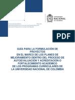 GUÍA PARA LA FORMULACIÓN DE PROYECTOS EN EL MARCO DE LOS PLANES DE MEJORAMIENTO DENTRO DEL PROCESO DE AUTOEVALUACIÓN Y ACREDITACIÓN O FORTALECIMIENTO ACADÉMICO DE LOS PROGRAMAS CURRICULARES DE LA UNIVERSIDAD NACIONAL DE COLOMBIA