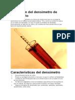 Definición del densímetro de laboratorio