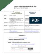 INSTRUCCIONES  PARA EL EXAMEN Y EL SIMULACRO VIRTUAL ADMISION 2020-I