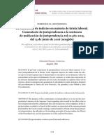 La suficiencia de indicios en materia de tutela laboral. Comentario de jurisprudencia a la sentencia de unificación de jurisprudencia rol 12.362-2015, del 13 de junio de 2016 (acogido).