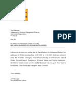 Specimen of Internship Letter