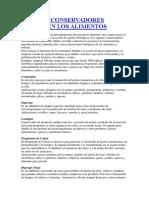 TIPOS DE CONSERVADORES USADOS EN LOS ALIMENTOS