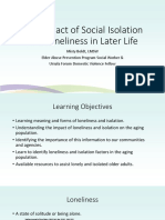 The Impact of Social Isolation and Loneliness in Later Life