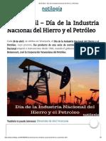 28 de Abril – Día de la Industria Nacional del Hierro y el Petróleo