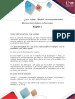 Presentación del curso Inglés I  English 1 Course presentation