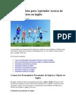 Guía Completa para Aprender Acerca de los Pronombres en inglés