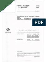 NTC 4201 - Accessibilidad al medio físico. Edificios, equipamientos, bordillos, pasamanos y agarraderas
