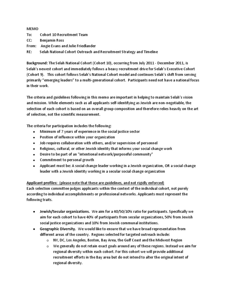 Strategy Memo | Cohort 10 Recruitment Strategy Memo For Team Multiculturalism