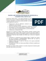POLÍTICA DEL SISTEMA INTEGRADO DE GESTIÓN DE LA CONSTRUCTURA - ROVIC